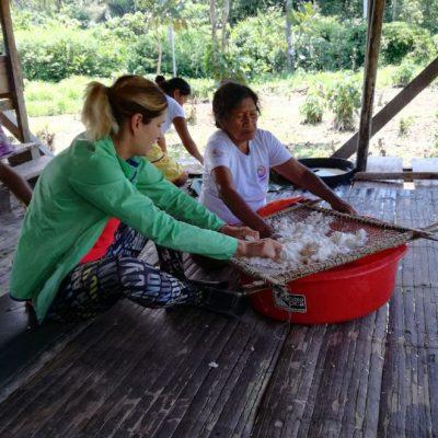CUYABENO JUNGLE TOUR Community - Tourist with lady - Ecuador & Galapagos Tours